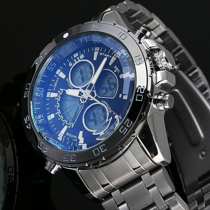 Acero inoxidable Sport Reloj de pulsera Blue Esfera Negro caja: Amazon.es: Relojes