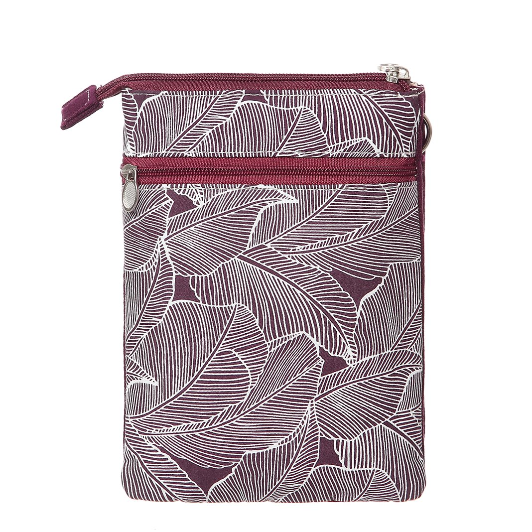 Cell Phone Purse Wallet Canvas Leaf Pattern Small Crossbody Purse Bags For Women(Red) by AOCINA (Image #2)