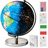 "9"" Educational LED Illuminated Spinning Children World Globe with Stand Plus a Bonus Card Game. 3 in 1 Interactive Desktop Earth Globe for Kids - Night Light Lamp, Political Map and Constellation View"