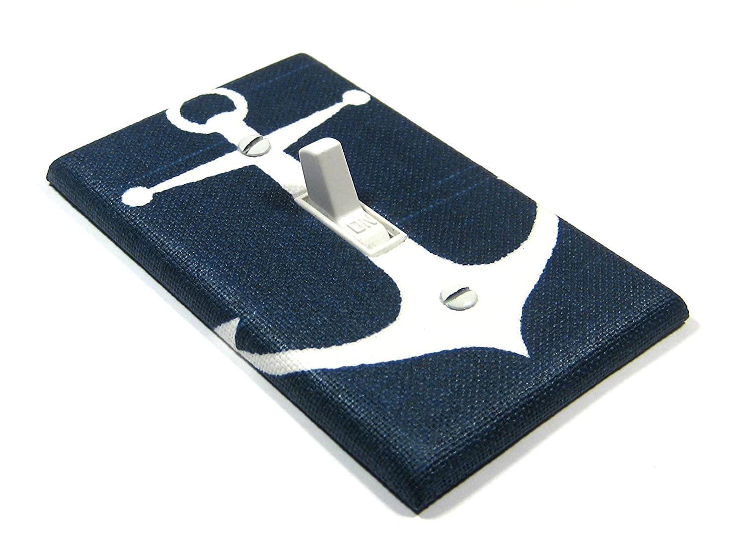 Navy Blue Anchor Light Switch Cover Nautical Nursery Decor