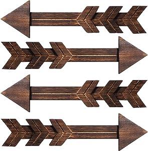 Blulu 4 Packs Rustic Wood Arrows Wall Decor Wooden Arrows Wall Art Decorative Farmhouse Sign, 14.6 x 3.9 Inch (Dark Color)