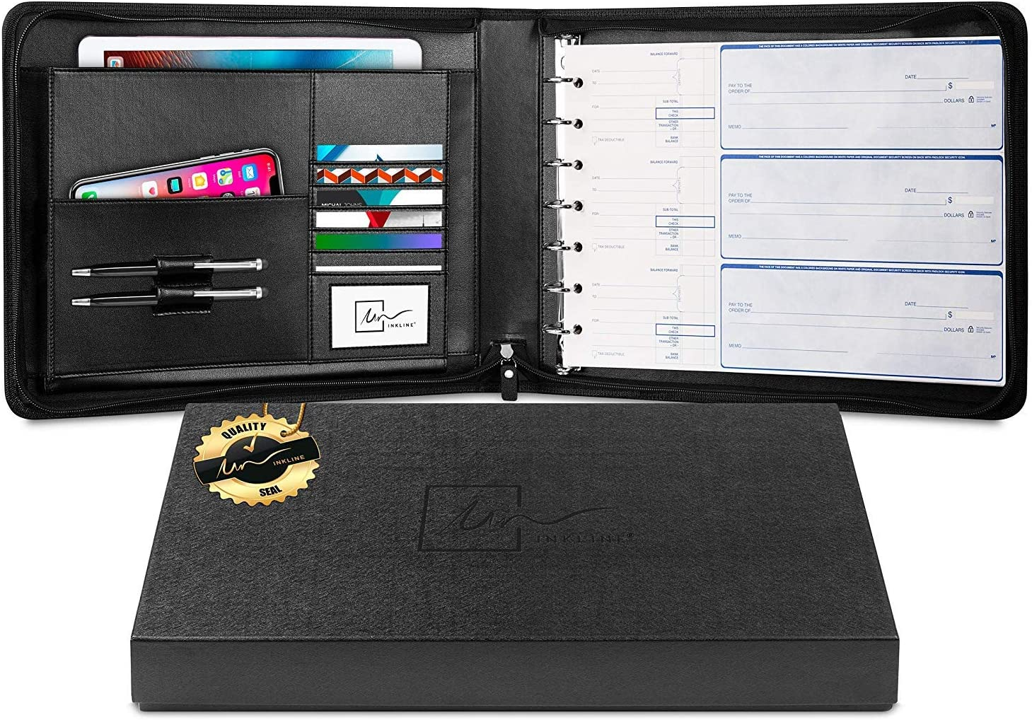 Inkline 7 Ring Check Binder Portfolio -Professional PU Leather Binder with Zippered Closure -500 Check Capacity -9x13 Inch Sheets -Document Organizer & Business Card Holder -Large Tablet Pocket -80001
