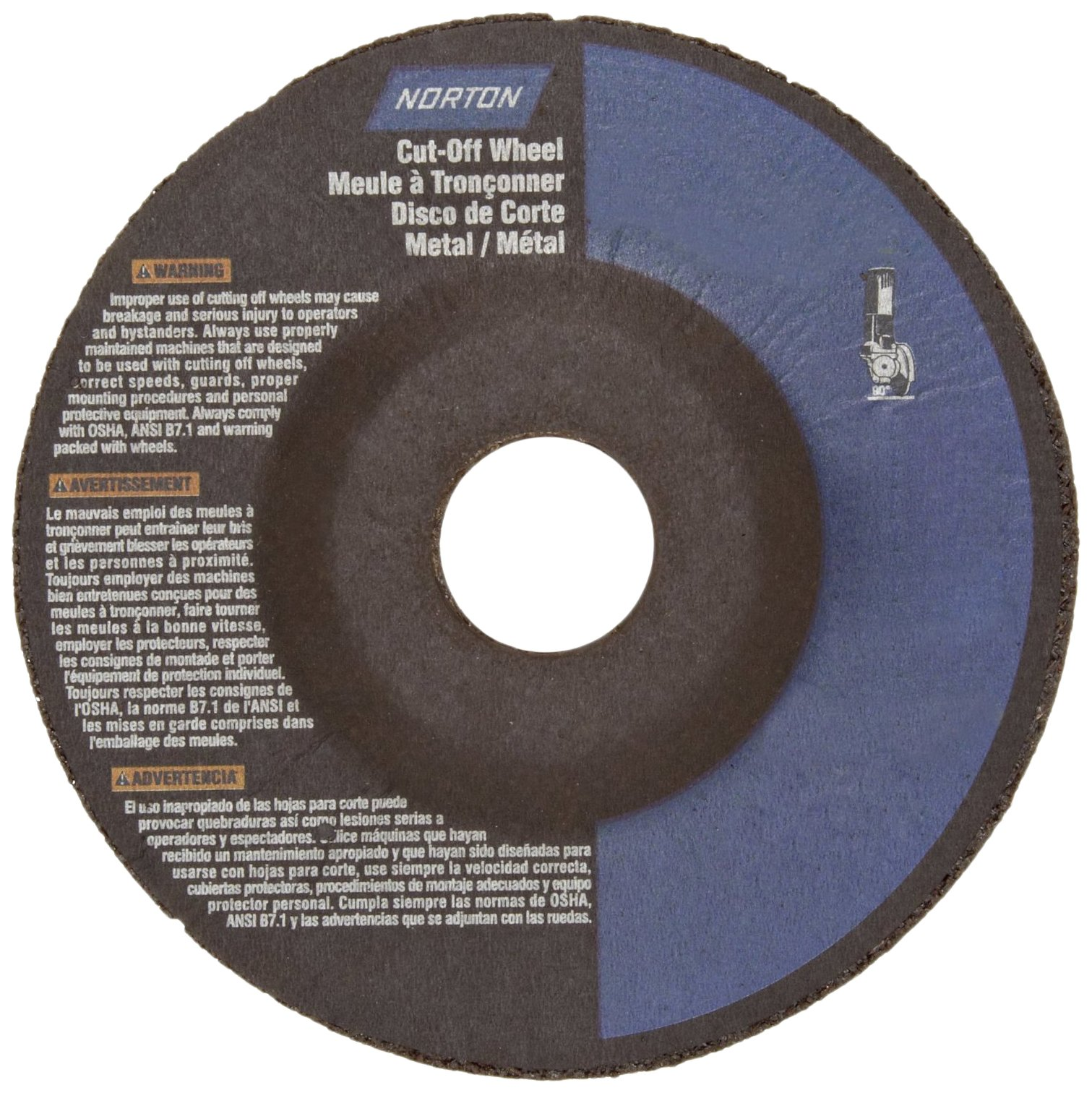Norton Metal Stainless Steel Right Cut Small Diameter Reinforced Abrasive Cut-Off Wheel, Type 27, Aluminum Oxide, 7/8'' Arbor, 4-1/2'' Diameter x 0.045'' Thickness  (Pack of 25)