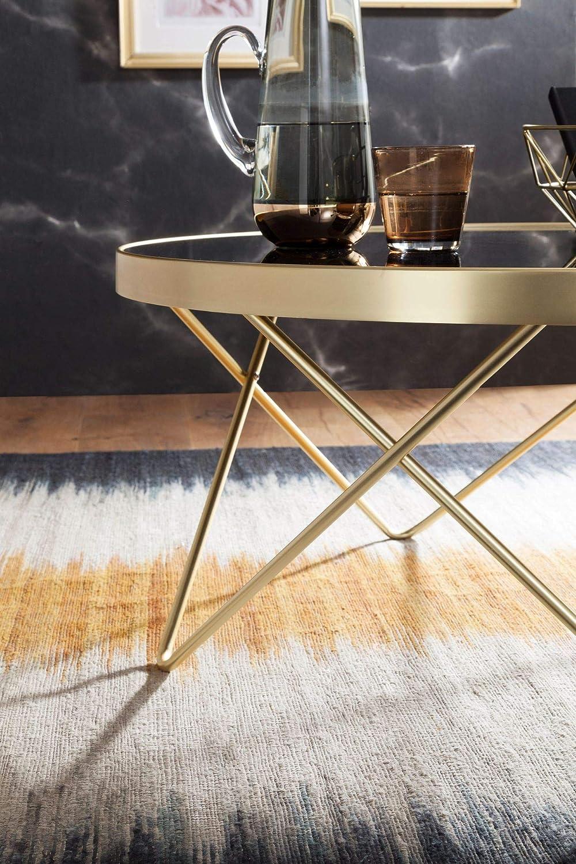 FineBuy Tavolino da caff/è Nero//Oro /Ø 82 cm Disegno Tavolo Metallo//Vetro Divano Tavolo Moderno Tavolo da Salotto Rotondo