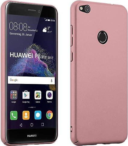 Cadorabo Huawei P8 LITE 2017 Custodia Hard Cover METALLO OPACHI in ORO ROSA METALLO Rigida Cover Protettiva Super Sottile con Bordo Protezione Back ...