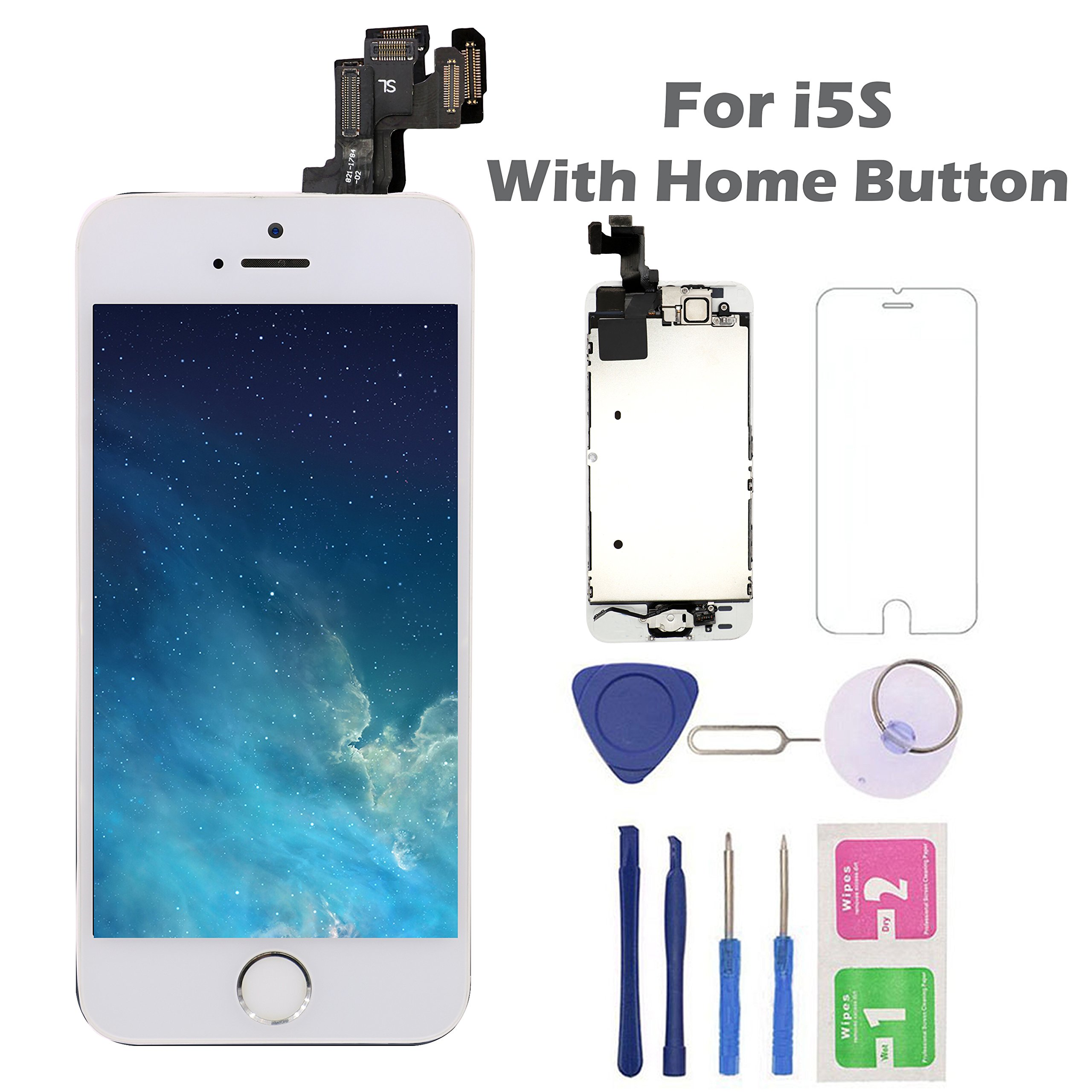 iPhone 5S Screen Replacement Home Button, Arotech 4.0 inch Full Assembly LCD Display Digitizer Touch Screen Repair Tool Kit Tempered Glass (5S-White