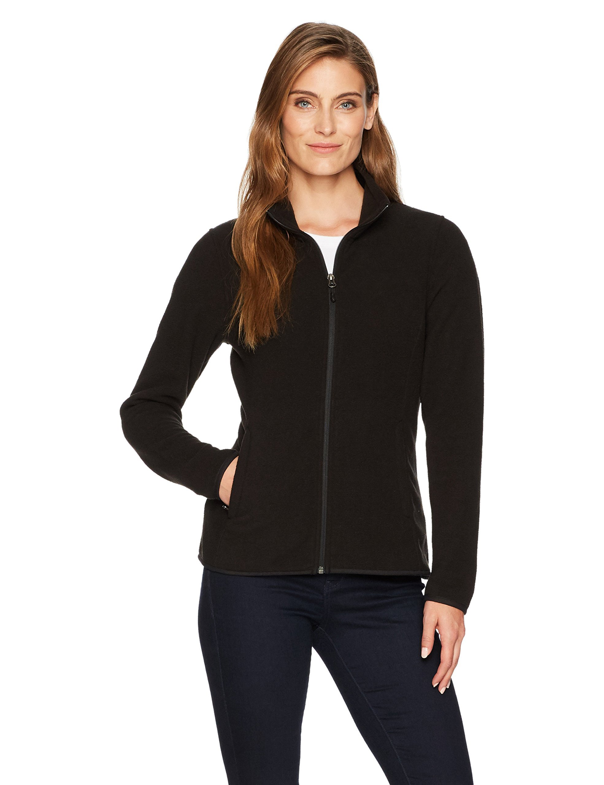 Amazon Essentials Womens Full-Zip Polar Fleece Jacket, Black, Medium