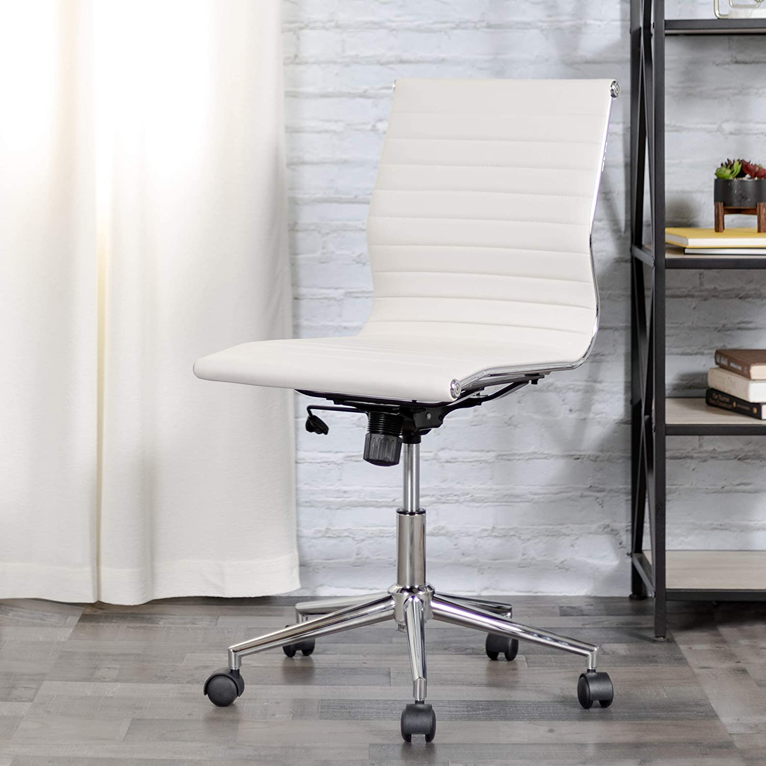 Amazon Com Flash Furniture Mid Back Armless White Ribbed Leathersoft Swivel Conference Office Chair Furniture Decor