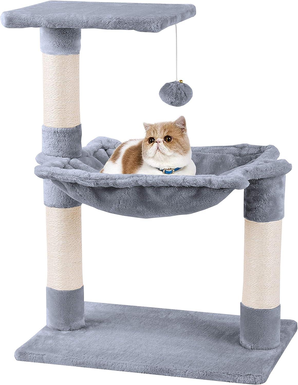 MC Star Árbol para Gato con Rascador Cama Bolas de Juego Arañazo Plataforma Sisal Natural 70cm, Gris