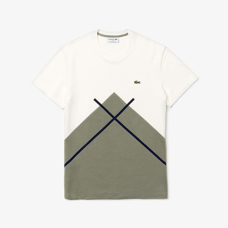 Vert Kaki   Blanc   Bleu Marine S Lacoste - Tee-Shirt Homme - TH8588