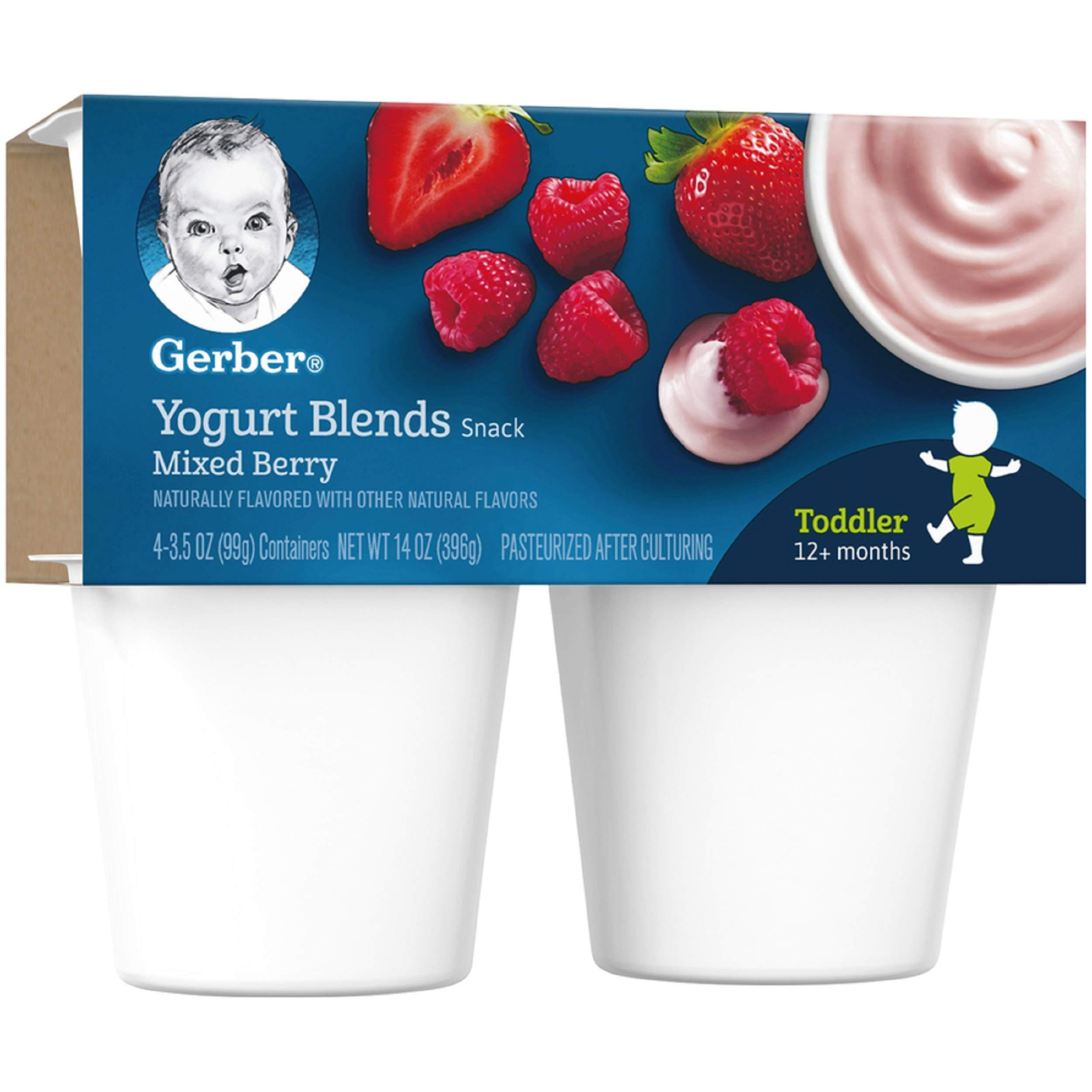 Gerber Graduates Yogurt Blends, Mixed Berry, 4-Count, 3.5-Ounce Cups (Pack of 6)