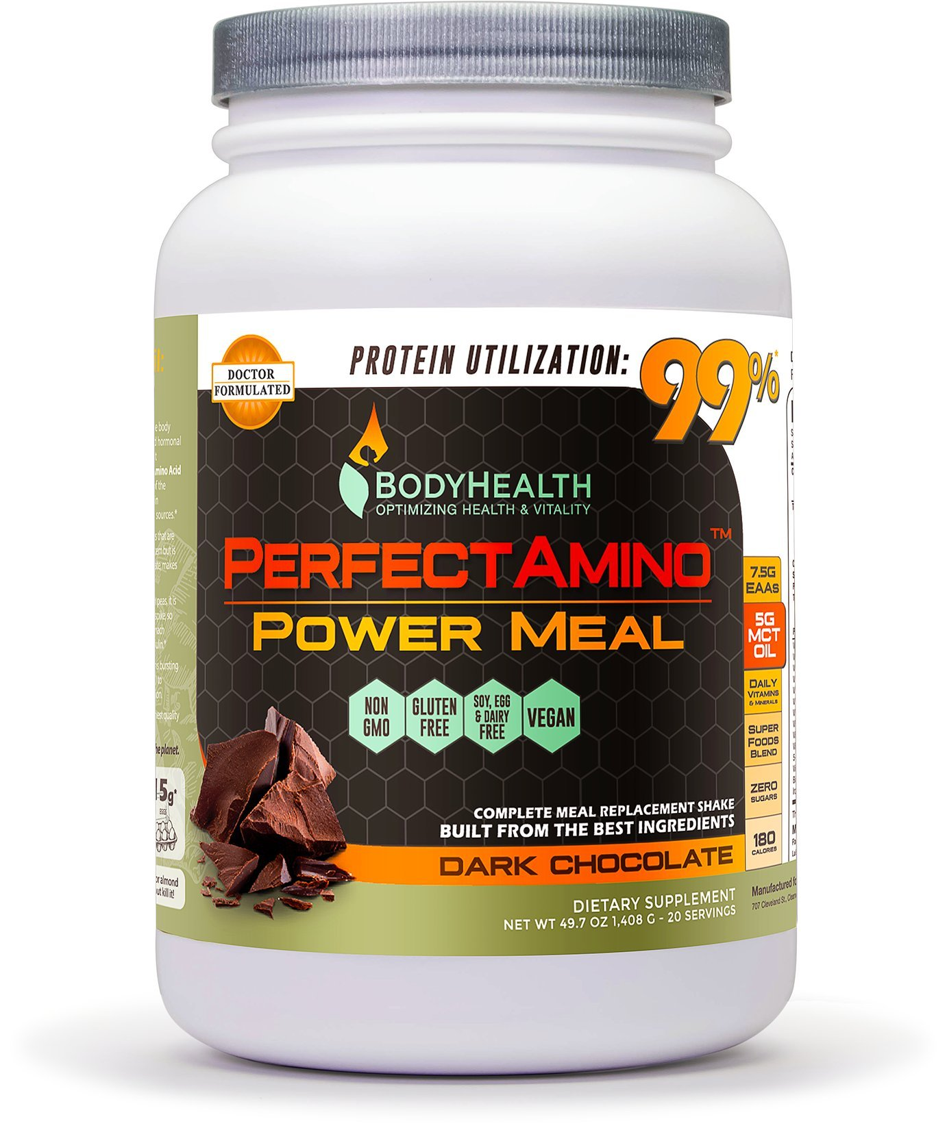 PerfectAmino Power Meal Shake, With MCT Oil, Carb 10, and Perfect Amino Protein base, 20 Servings