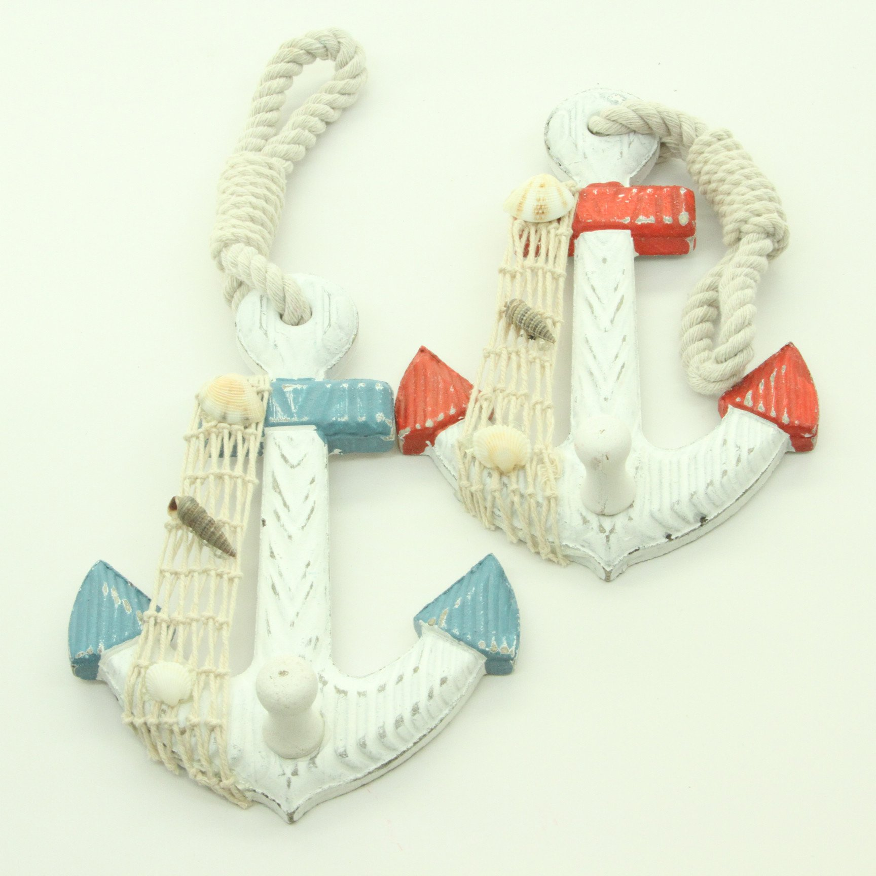 Set of 2 Wood Anchor Wall Hooks - Nautical Decor - New