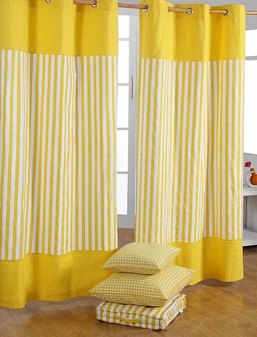 HOMESCAPES par de Cortinas de algodón Amarillas a Rayas Finas 137x182cm: Amazon.es: Hogar