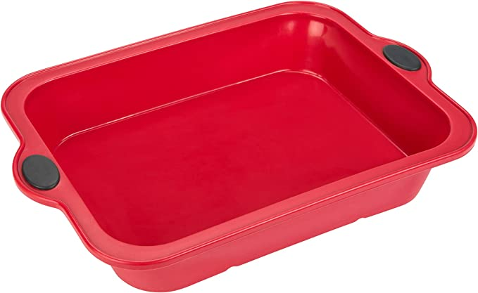 Levivo Molde de silicona para bizcochos, molde de silicona, molde para horno, molde para bizcochos, molde de silicona para horno, molde de silicona para gratinados, 23,5 x 33 cm, rojo