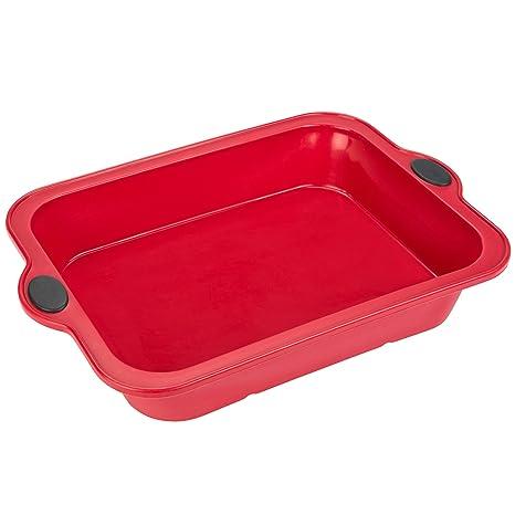 Levivo Silikon Kuchen-Backform / Silikon-Kuchenform 23,5 x 33 cm, Rot