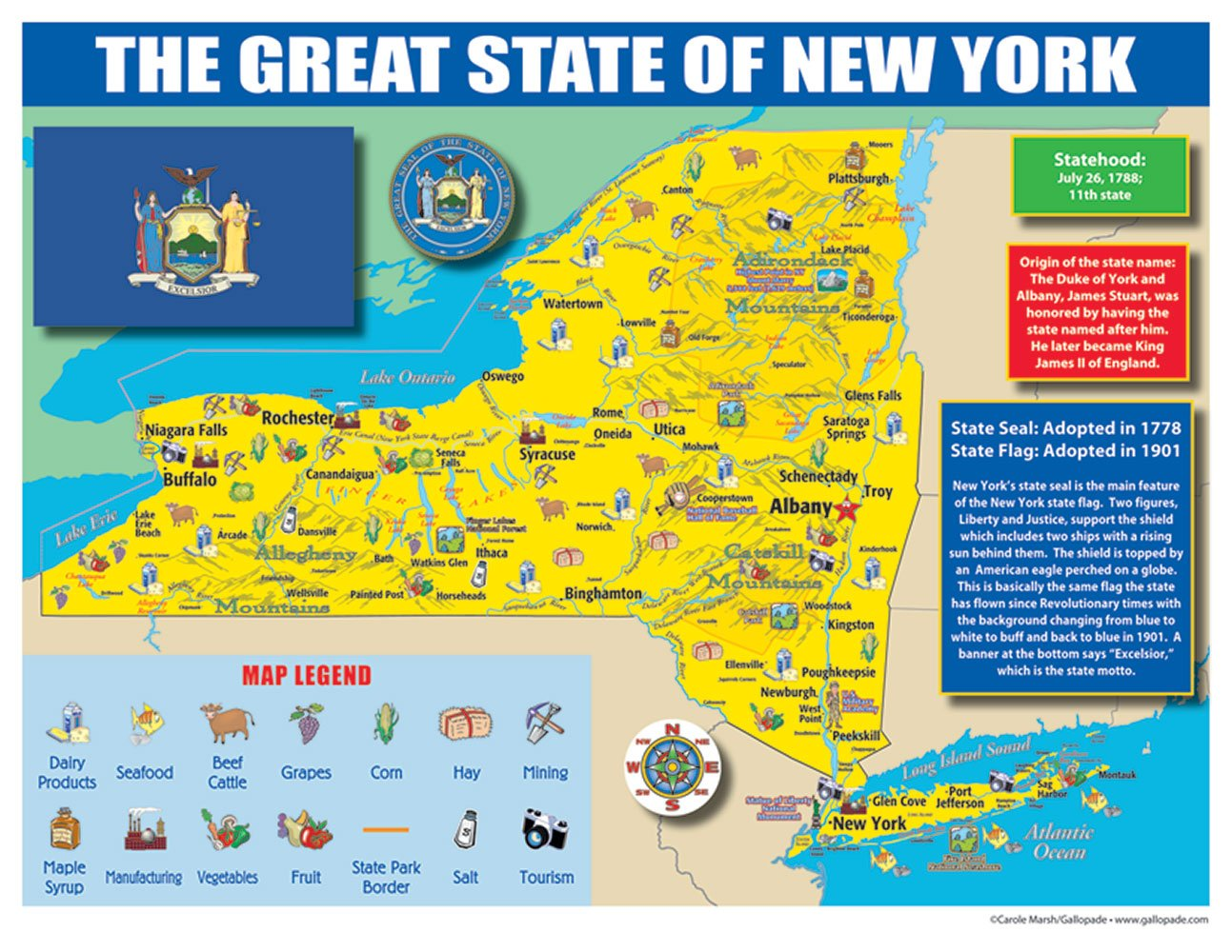 9780635106599 Pack of 30 Gallopade Publishing Group New York State Map for Students