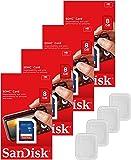 Lot of 4 SanDisk 8GB SD SDHC Class 4 Flash Memory Camera Card SDSDB-008G-B35 Pack + ( 4 Jewel Cases )