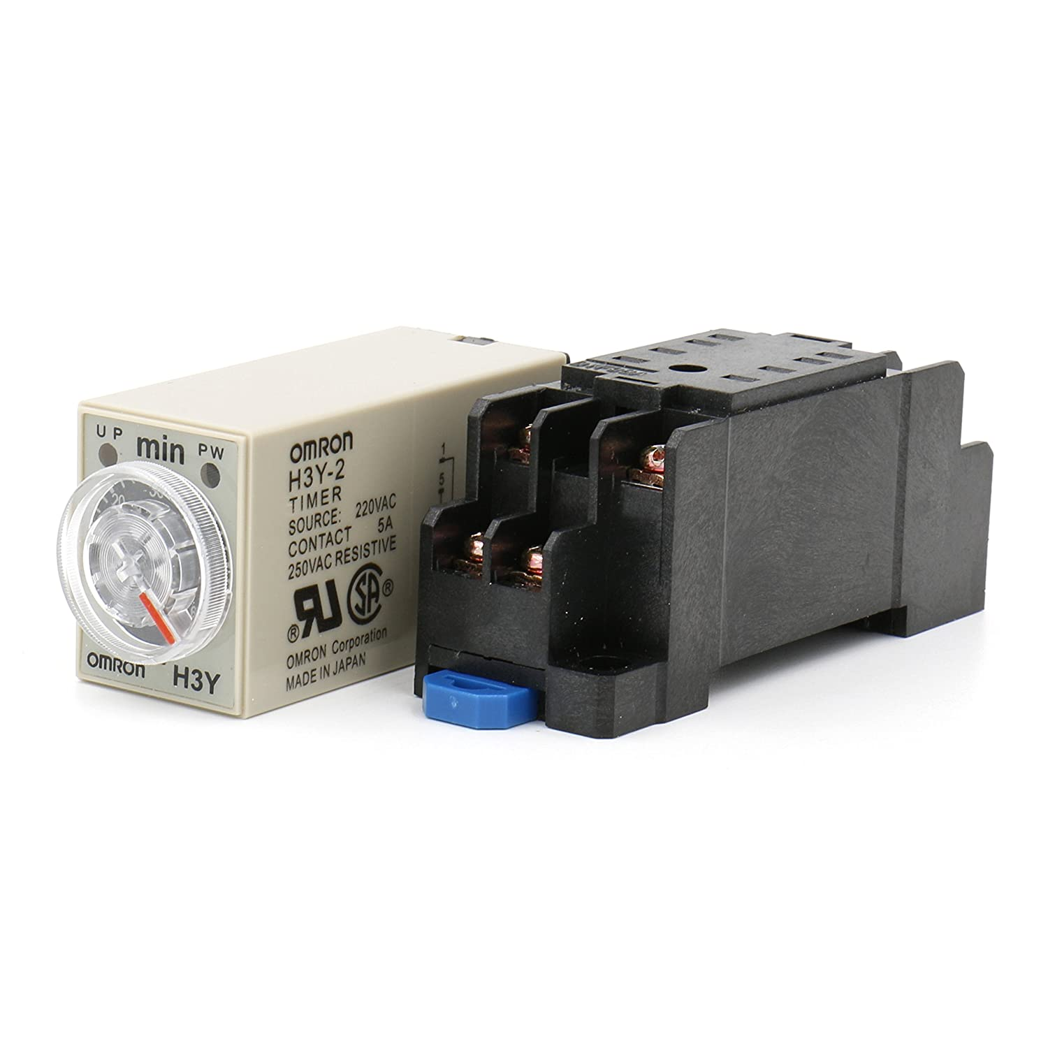 Heschen Timer Delay Relay H3Y-2 220VAC 0-10 Minutes 250VAC 5A 8Pin terminal DPDT with DYF08 35mm DIN Rail Socket Base Heschen Electric Co.Ltd H3Y-2-220V-10M