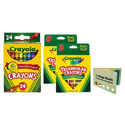 Crayola Crayons, 24 Count and Triangular Crayons, 8 Count, 2 Packs | Includes 5 Color Flag Set: Toys & Games