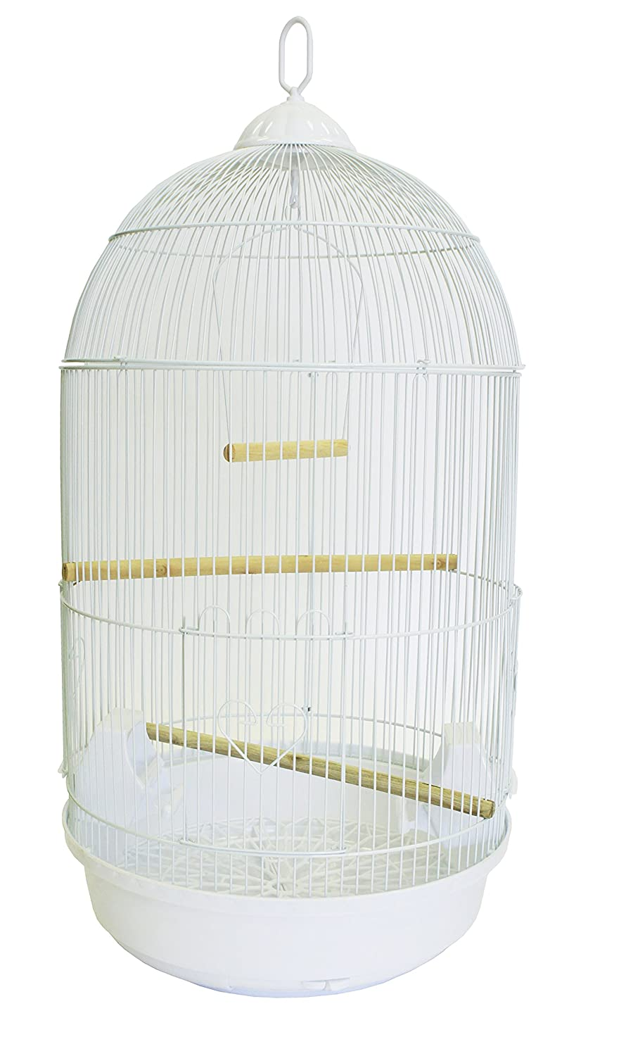 YML A1594 Bar Spacing Round Bird Cage, Large, White A1594WHT