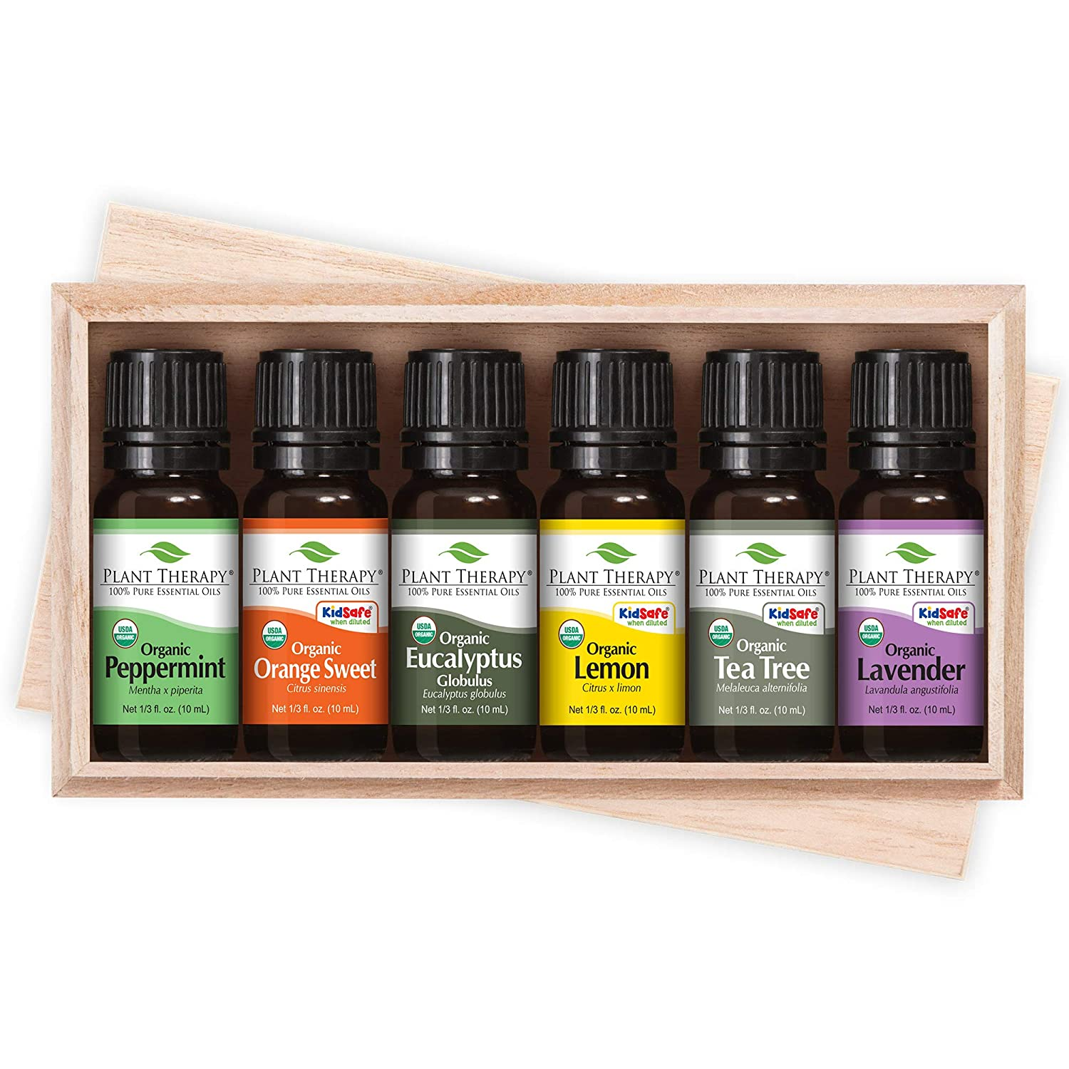 Plant Therapy Top 6 Organic Essential Oil Set - Lavender, Peppermint, Eucalyptus, Lemon, Tea Tree, In A Wooden Box 100% Pure, USDA Organic, Natural Aromatherapy, Therapeutic Grade 10 mL (1/3 oz)