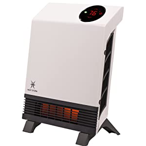 Heat Storm Wave Floor to Wall Infrared Space Heater with Attachable Feet, Remote Control, Built in Thermostat, 500-1000 Watts