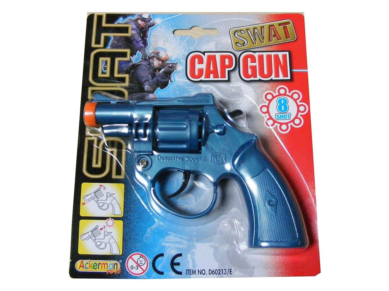17CM IN LENGTH CHILDRENS NEW KIDS BLUE 8 SHOT PLASTIC TOY CAP GUN PISTOL