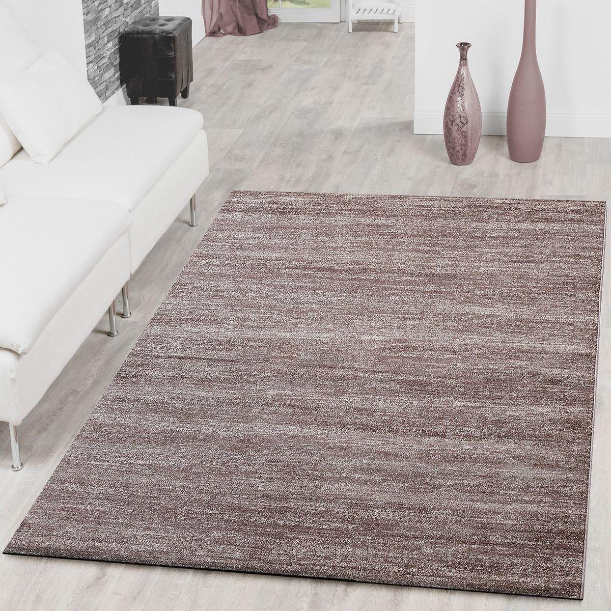 T&T Design Teppich Braga Modern Kurzflor Teppiche Wohnzimmer Einfarbig Meliert Uni Beige, Größe 240x320 cm
