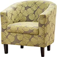 Sofa - Collection Benissa Funky Circle Design Tub Chair - Available in a Choice of Green or Red Fabric