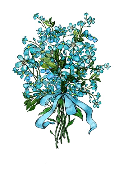 Amazoncom Blue Forget Me Not Flower Bouquet Temporary Tattoo