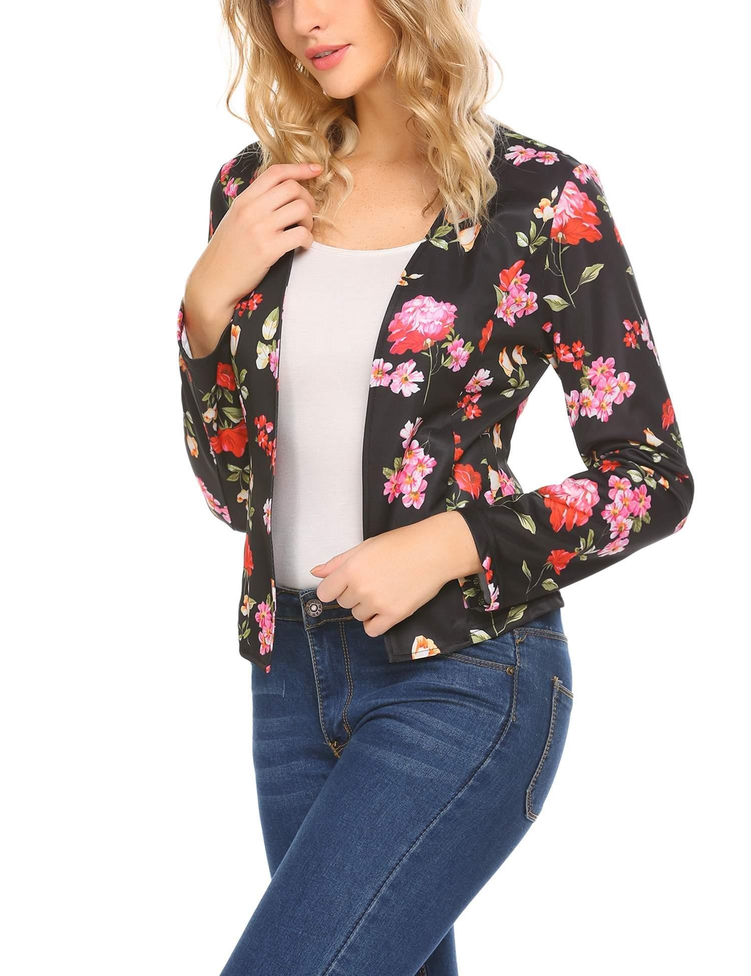 SoTeer Womens Flower Print Open Front Jacket Work Office Blazer Pattern 1 L