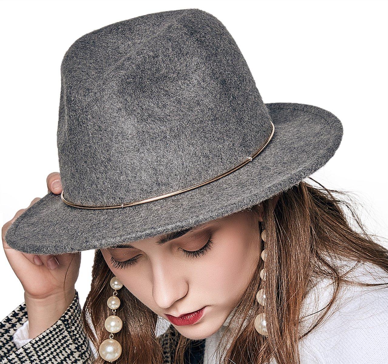 JNINTH Trendy 100% Wool Felt Fedora Hats Wide Brim Comfortable Adjustable Cap with The Unique Metal Circle for Women (Gray)