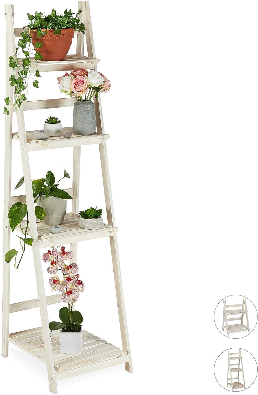 relaxdays Estantería Plantas para Interior y Balcón, Soporte Flores, Escalera Plegable, Madera, 160x41x50 cm, Blanco, 4 peldaños (XL): Amazon.es: Juguetes y juegos
