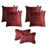 Lushomes Premium Maroon Car Set (4 pcs Cushions & 2 pcs Neck rest Pillow) with Artistic Stitch