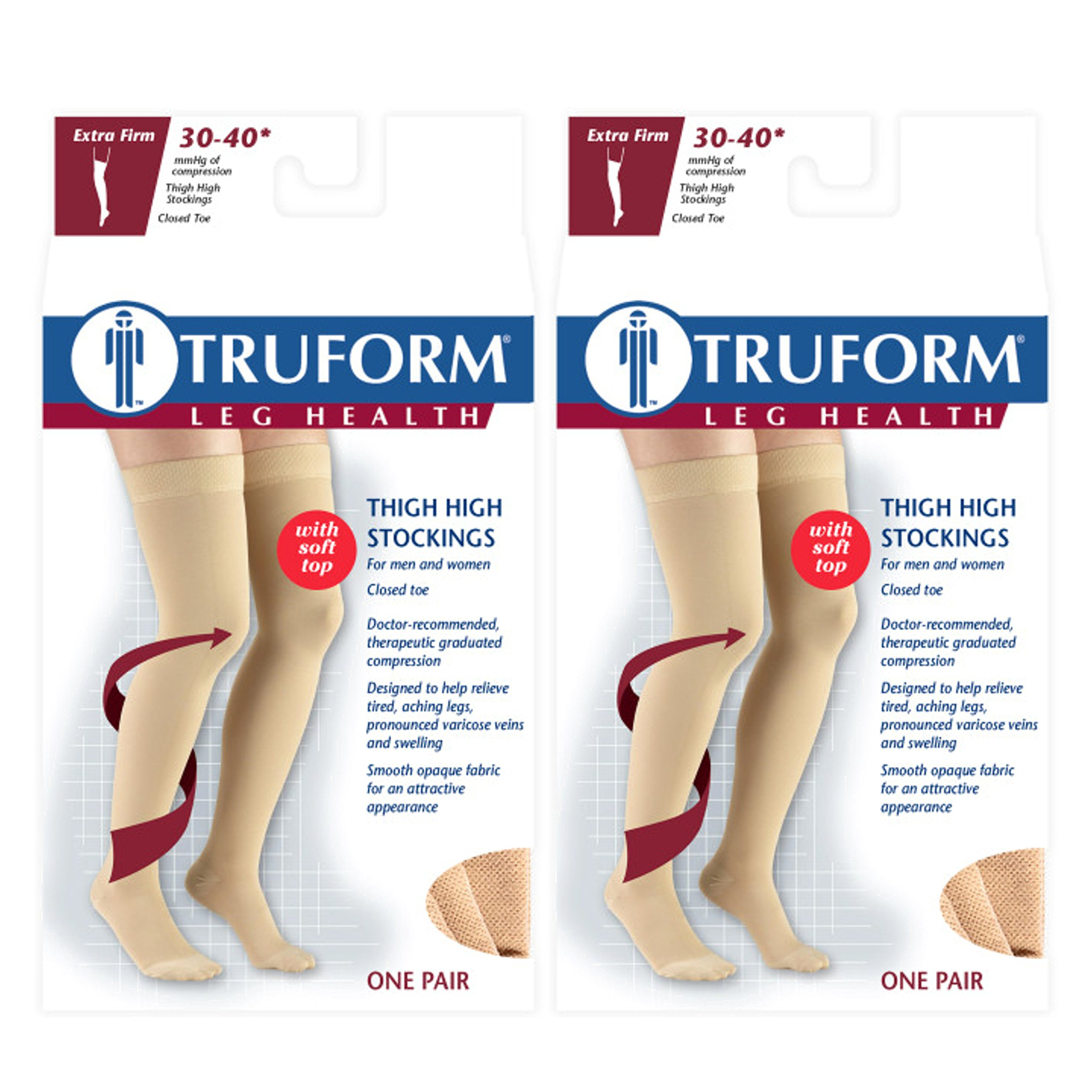 Truform Compression 30-40 mmHg Thigh High Stockings Beige, X-Large, 2 Count
