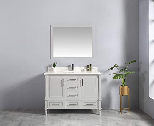 48 x 22 Willow Collections Aberdeen Bathroom Vanity in Coventry Gray with 4cm Beveled Edge Calacatta Quartz