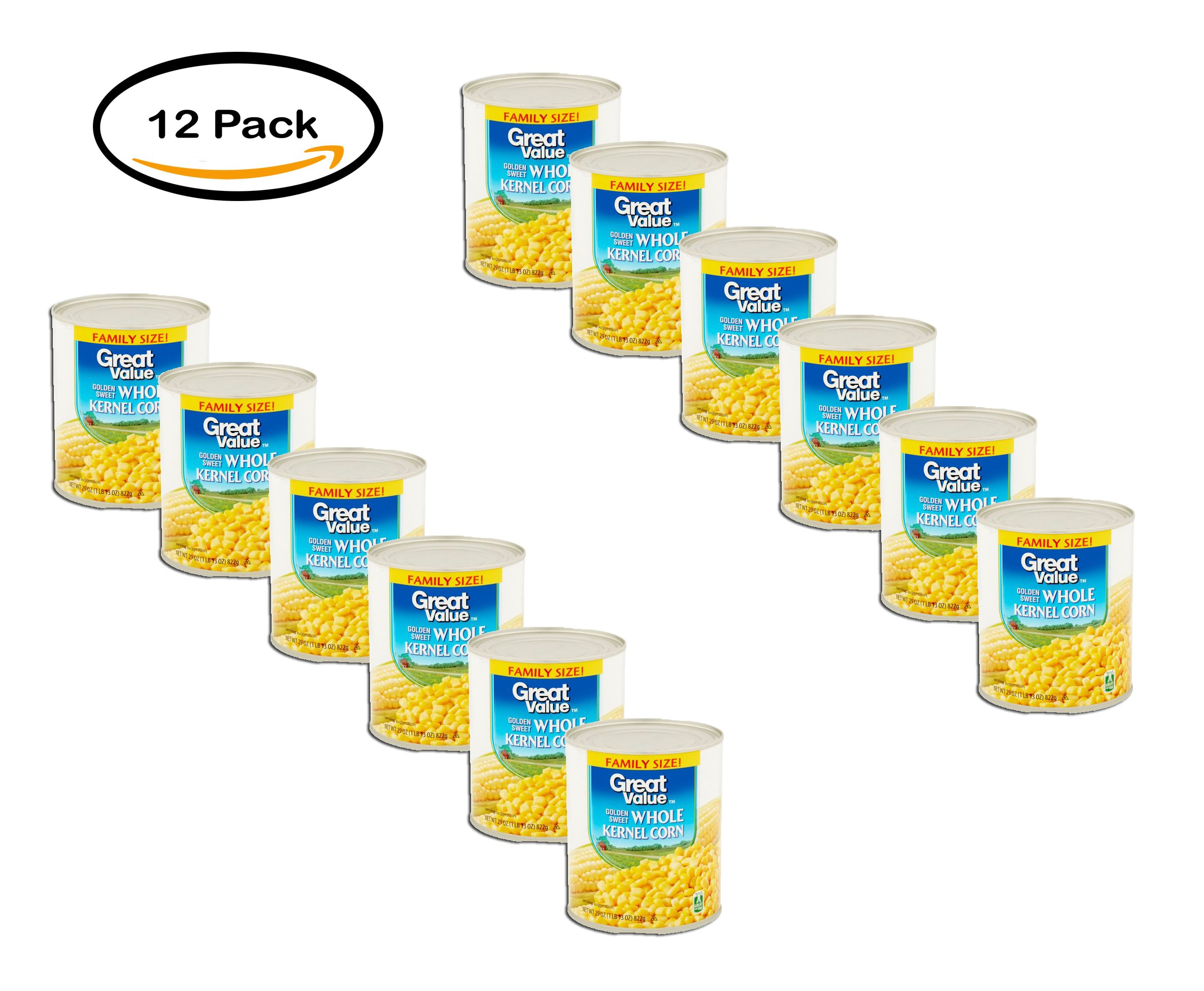 PACK OF 12 - Great Value Golden Sweet Whole Kernel Corn, Family Size, 29 oz