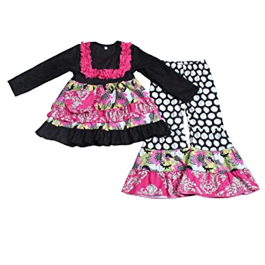 2316b44053 Yawoo Haan Kids Girls Long Sleeve Lace Edge Dress Pants Boutique Outfits  Black 2T