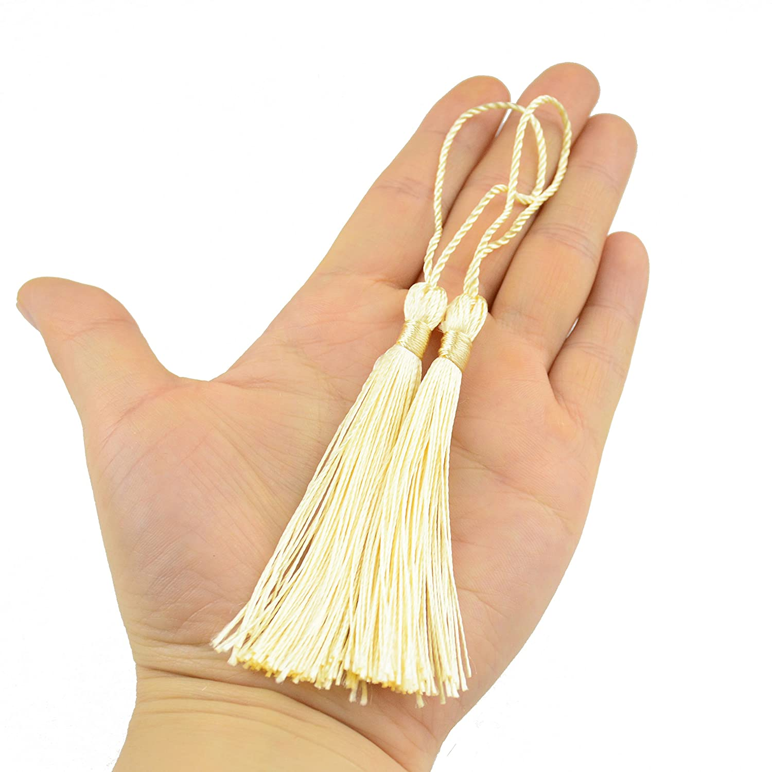 DIY Craft Accessory 100pcs 13cm//5 Inch Silky Floss Bookmark Tassels with 2-Inch Cord Loop and Small Chinese Knot for Jewelry Making Light Violet Bookmarks Souvenir