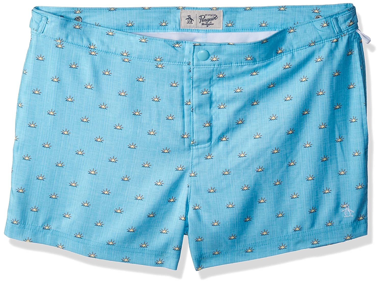 Original Penguin Men's Sunshine Print Fixed Stretch Box Swim Short OPSS8020