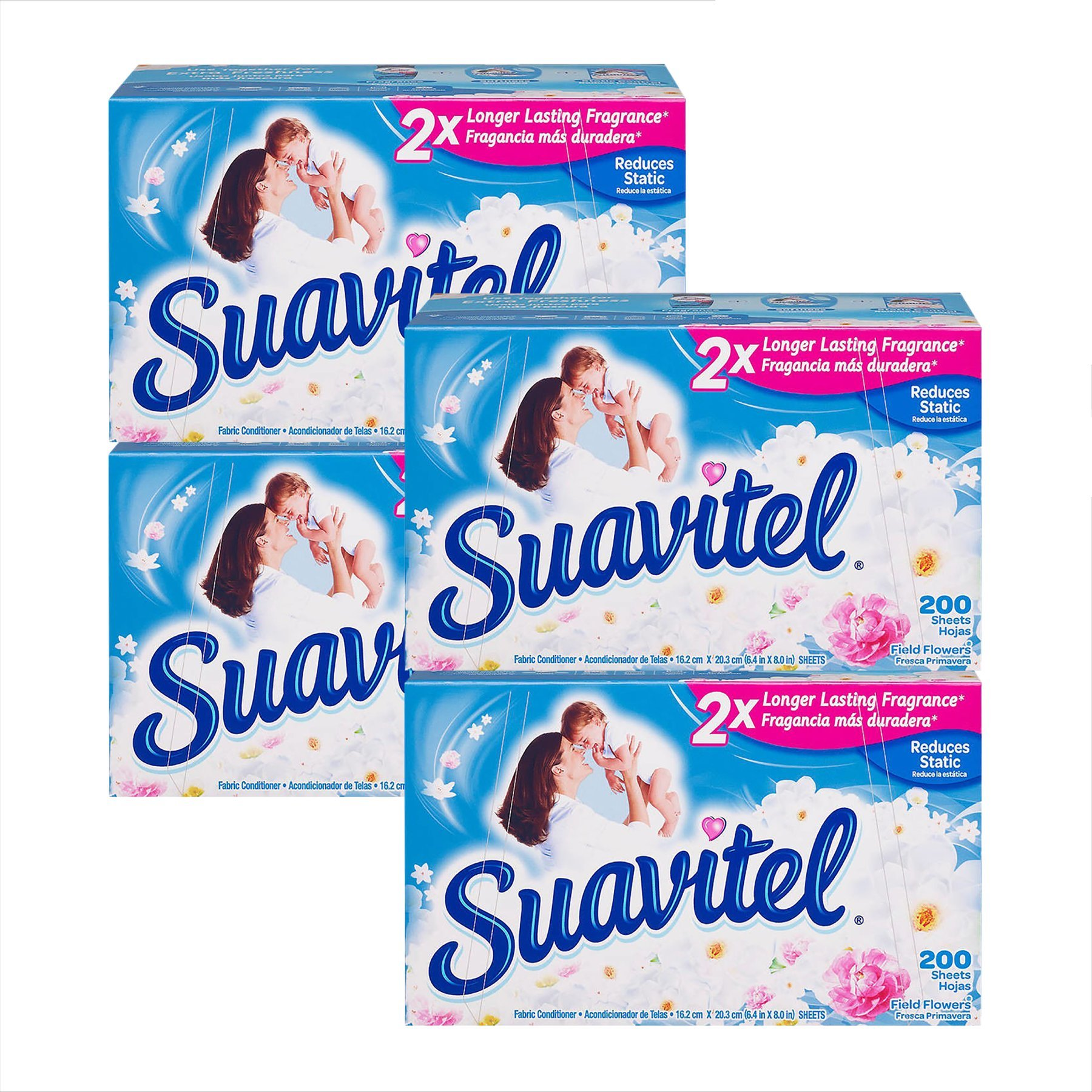 Suavitel Fabric Softener Dryer Sheets, Field Flowers, 200 Sheets, 4 Pack