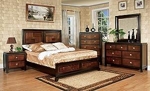 Furniture of America Bedroom Set, Acacia, Walnut