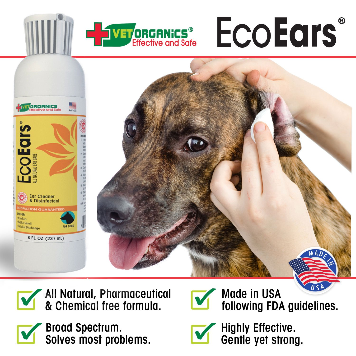 EcoEars Dog Ear Infection Formula - 237 ml  For Itch, Head Shaking,  Discharge & Smell  Natural Multi Symptom Ear Cleaner for Dogs with Ear  Infections
