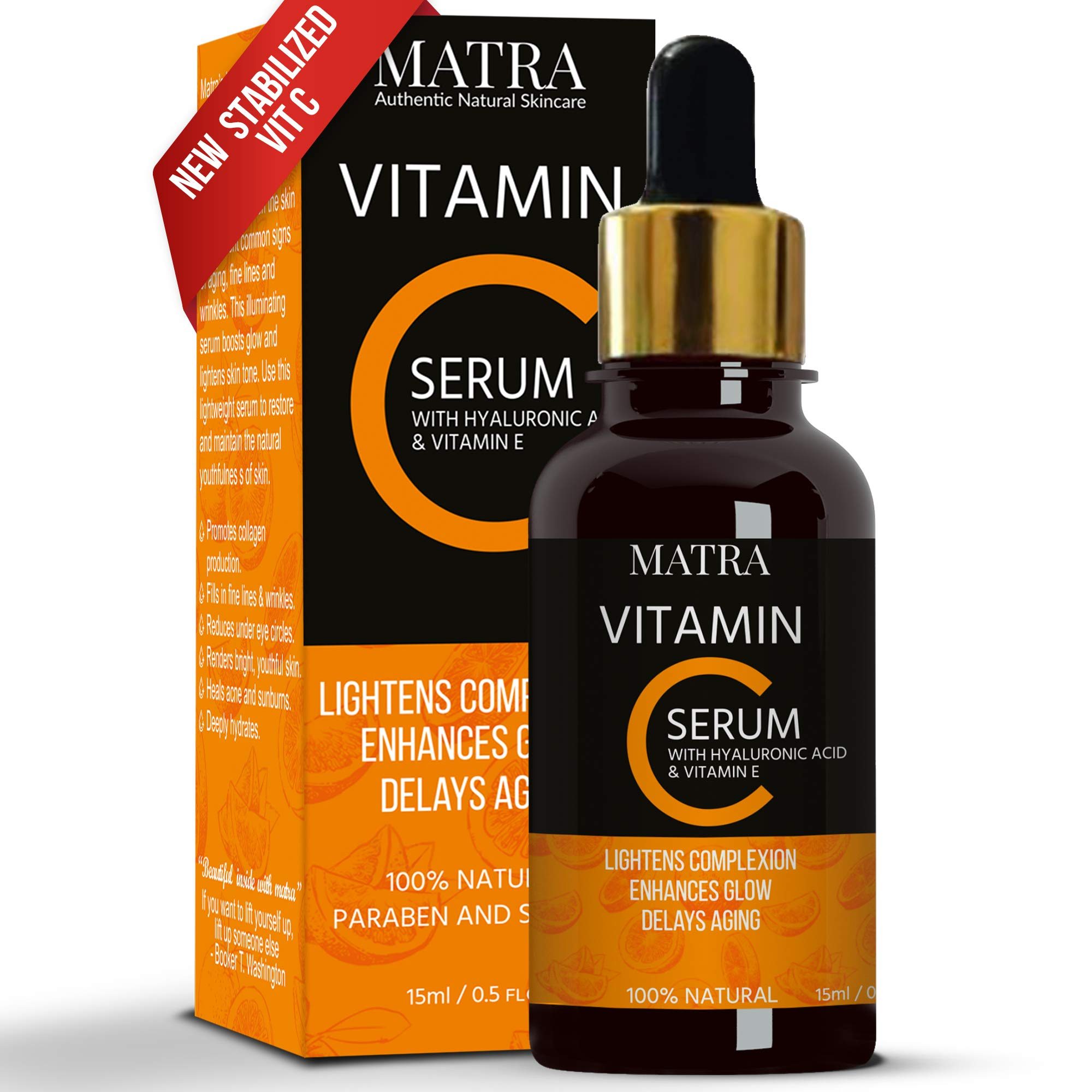 Matra Vitamin C Ultra Glow Serum with Hyaluronic Acid & Vit E for Skin Lightening & Anti-aging, 15ml