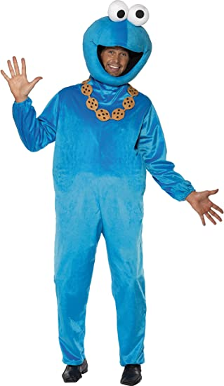 Sesamstraße Krümelmonster Kostüm Blau mit Jumpsuit und Kopfbedeckung, Medium