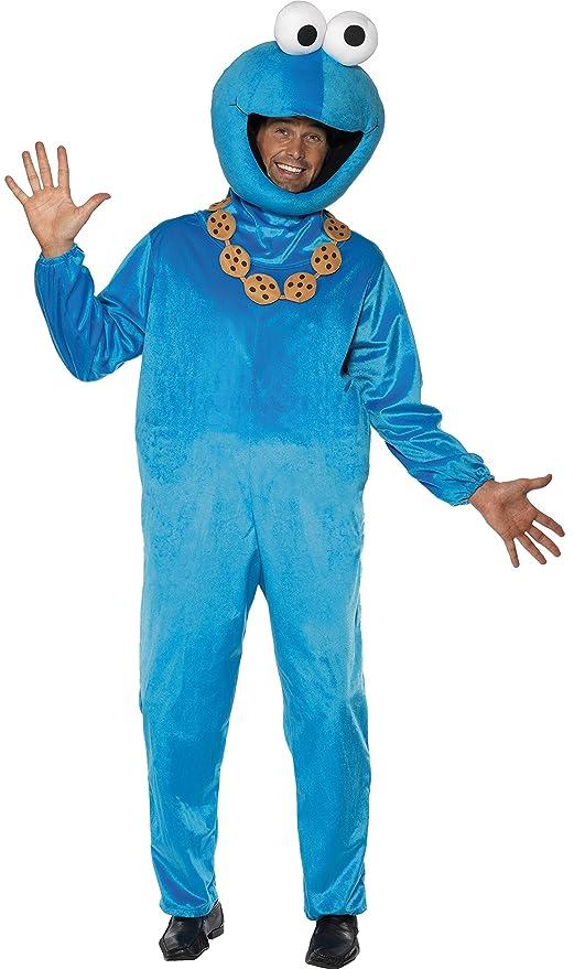 sesamstrasse krumelmonster kostum blau mit jumpsuit und kopfbedeckung medium