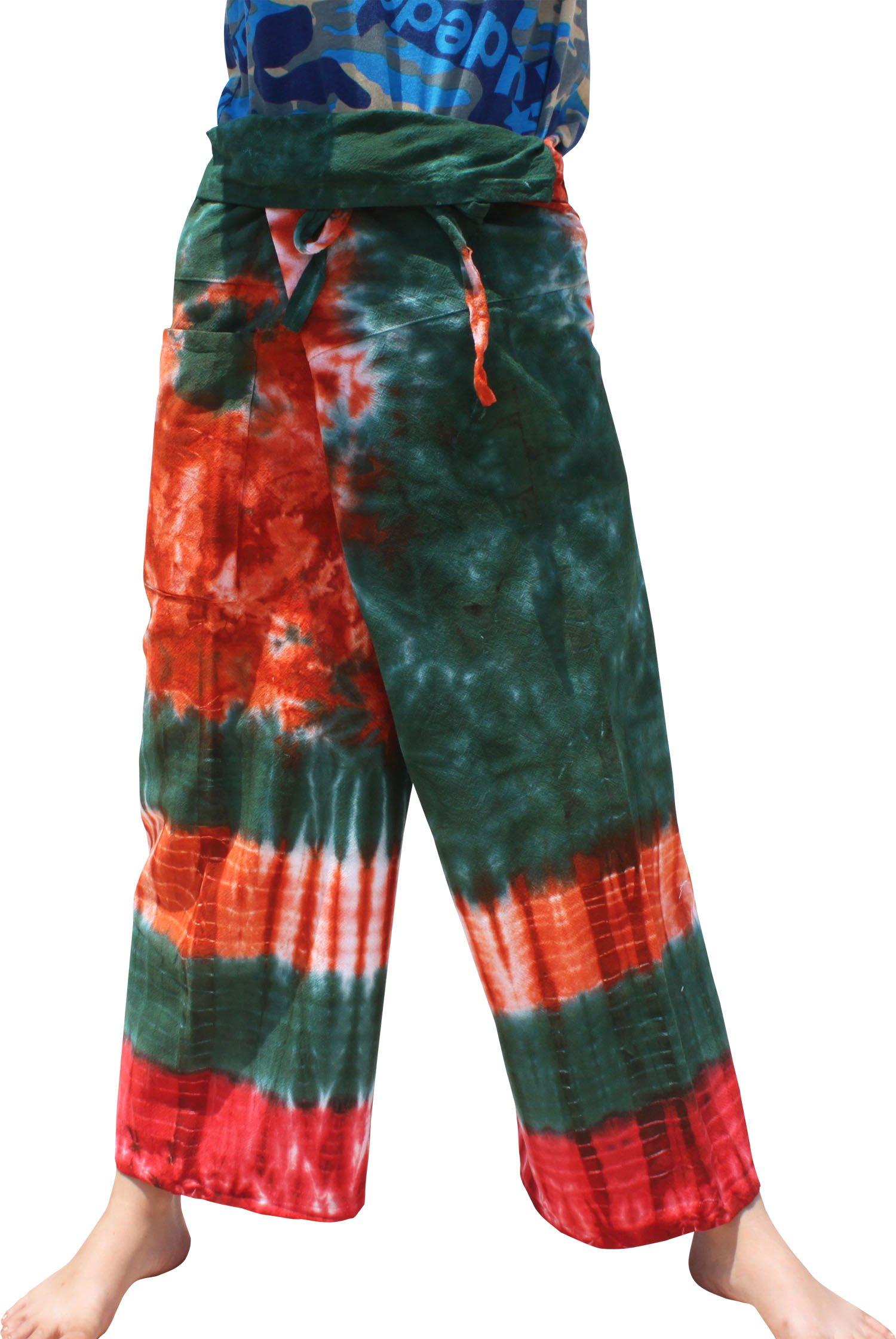 Raan Pah Muang Thick Muang Cotton Thai Fishermans Pants Vibrant TieDyed Tie Dye, Small, Green Orange by Raan Pah Muang