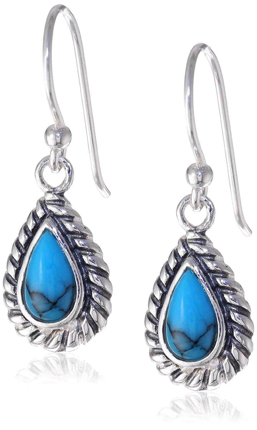 turquoise stone earrings teardrop amazon dp silver com drop genuine roped sterling jewelry