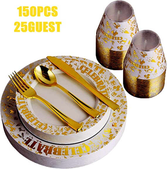 150pcs Gold Plates & Plastic Silverware & Gold Rimmed Cups, Celebrate Disposable Dinnerware Set for 25 Guest Include:25 Dinner Plates, 25 Dessert Plates, 25 Tumblers, 25 Forks, 25 Knives, 25 Spoon